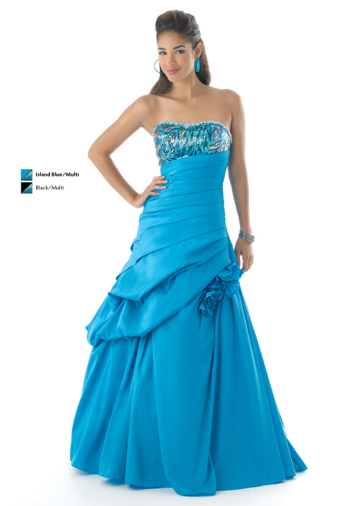Island Blue A Line Strapless Lace Up Ruffles Full Length Prom Dresses