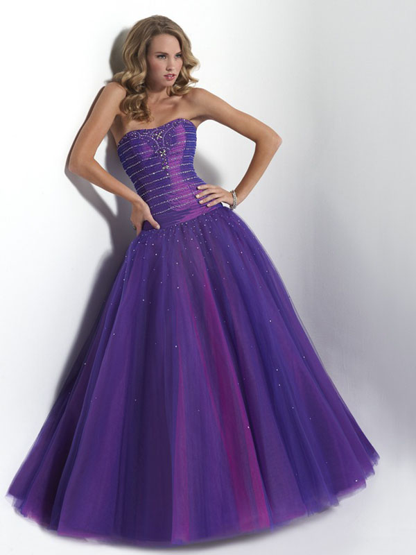 6986f5ec Violet A Line Strapless Lace Up Floor Length Sequin Organza Prom Dresses