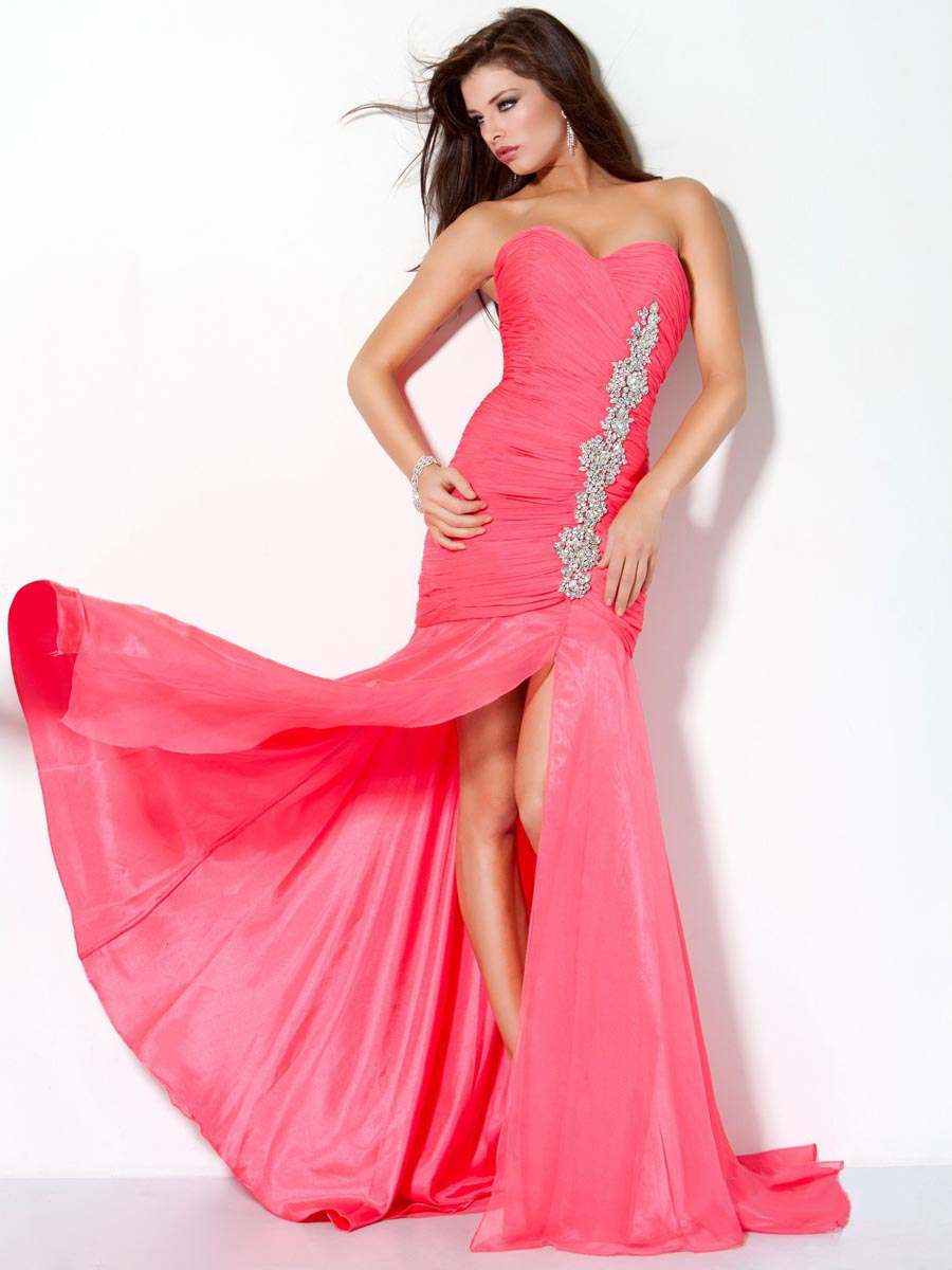Watermelon Mermaid Strapless Sweetheart Low Back Sweep Train Full Length Evening Dresses With Beading And High Slit