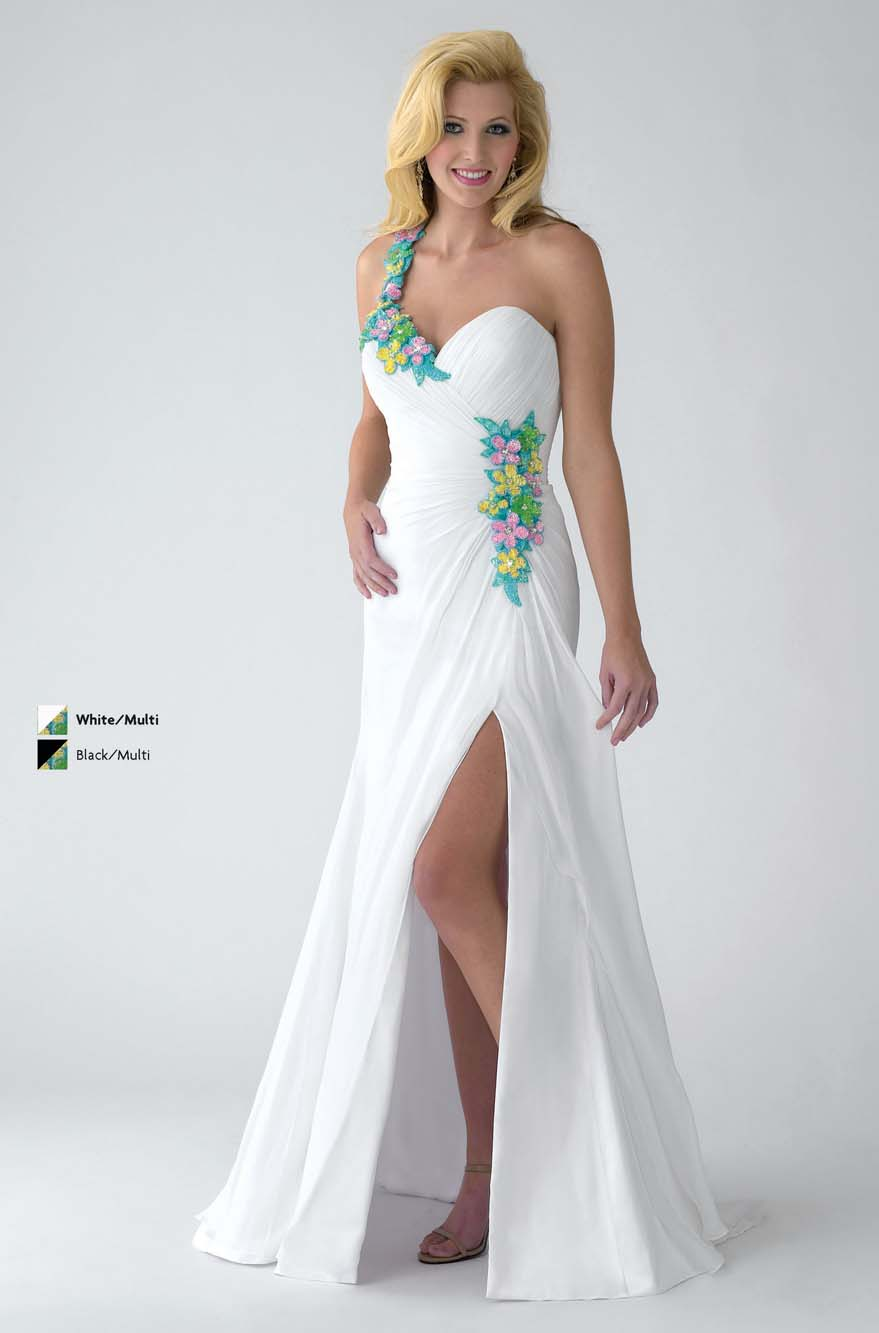 dfcda1b3310 White A Line One Shoulder Zipper Floor Length Chiffon Prom Dresses With  Colorful Appliques And Side Slit