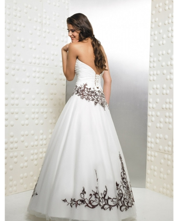White and Black Ball Gown Strapless Bandage Full Length Quinceanera ...
