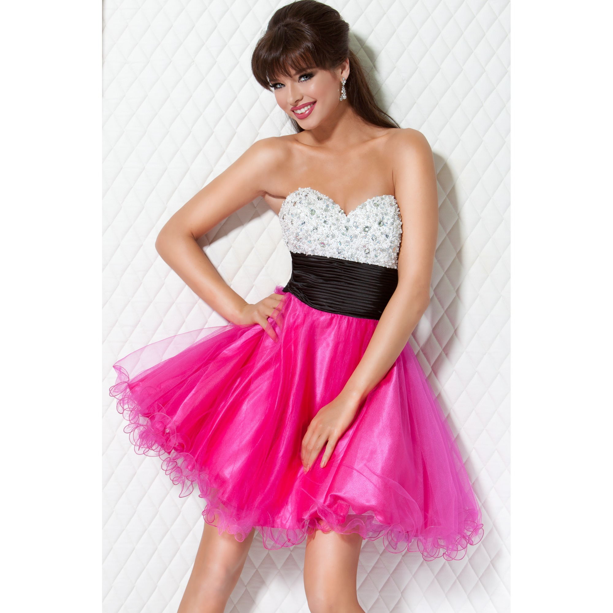 White And Fuchsia A Line Strapless Sweetheart Low Back Short Mini Cocktail Dresses With Black Ruches Waaist