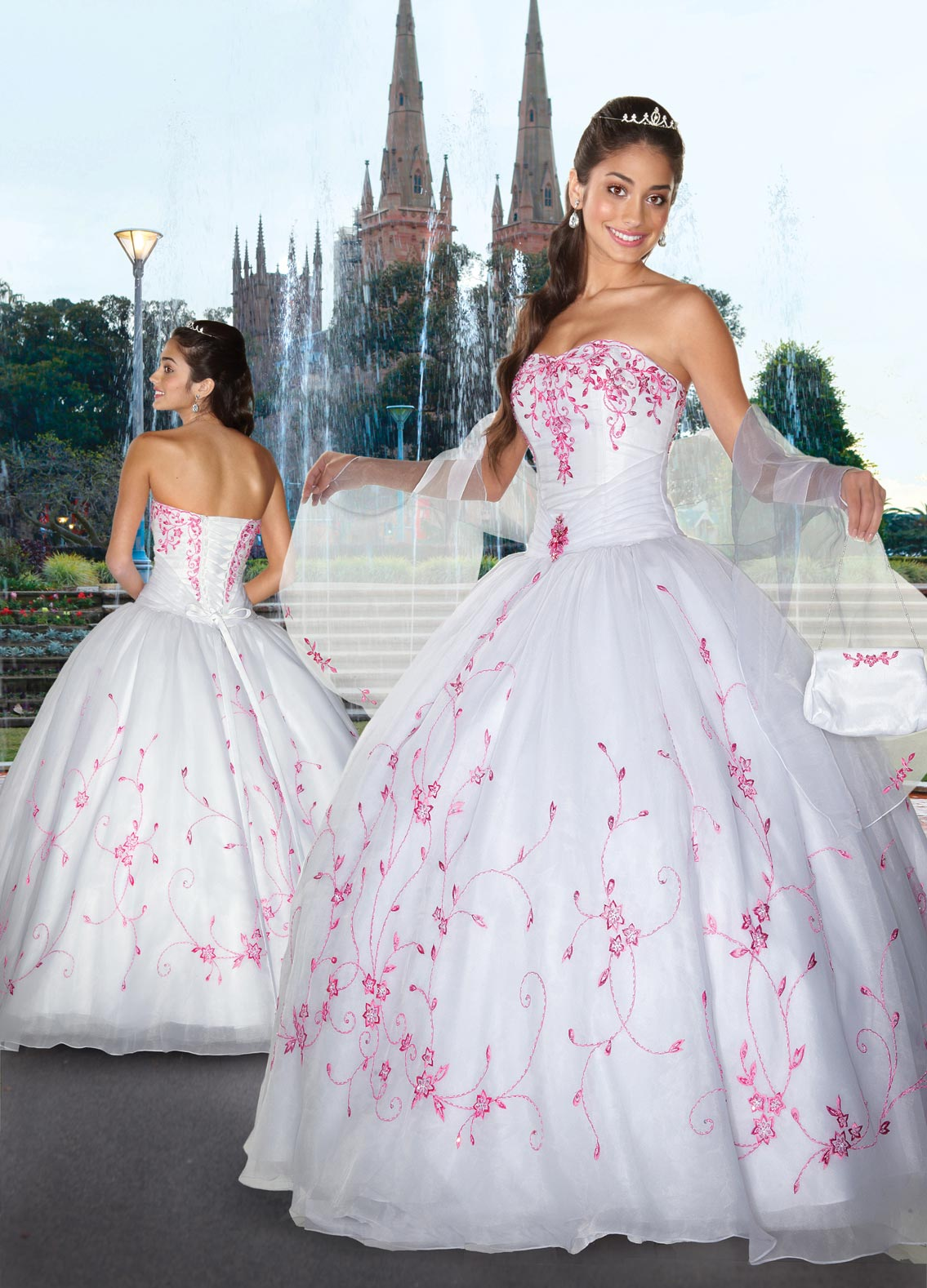 32f5493cc White Ball Gown Strapless Sweetheart Lace up Full Length Quinceanera Dresses  With Pink Embroidery