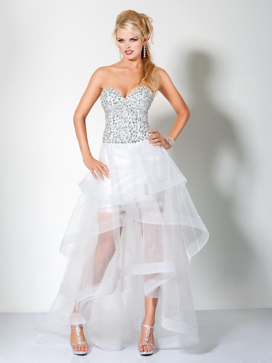 White And Silver Sweetheart Strapless Lace Up Hi Low A Line Celebrity Dresses With Sequins