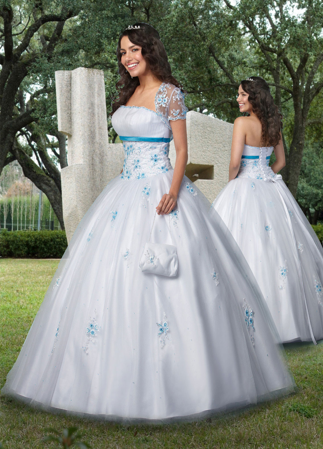 87c19ed8de8 White Ball Gown Strapless Lace up Full Length Tulle Quinceanera Dresses  With Blue Appliques