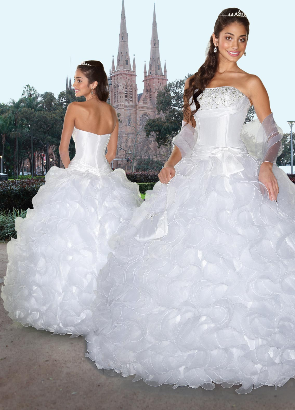 White Ball Gown Strapless Zipper Full Length Pleated Organza ...