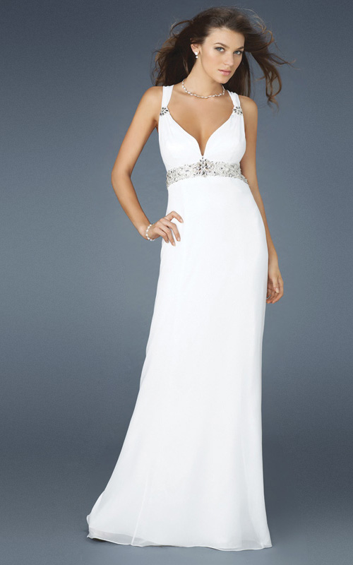 White Column Strap And Sweetheart Cross Back Sweep Train Full Length Evening Dresses With Beading
