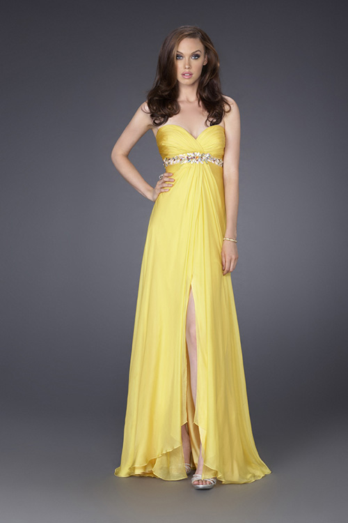 Yellow A Line Strapless Sweetheart Zipper Sweep Train Beading Ankle Length Evening Dresses With High Slit