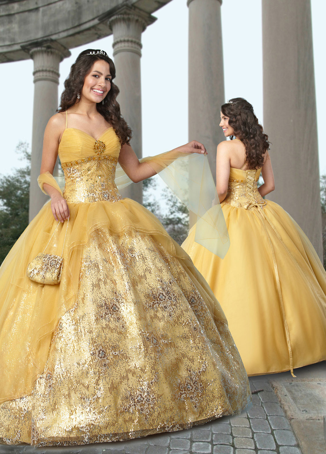 Yellow Ball Gown Spaghetti Straps And Sweetheart Lace Up Floor