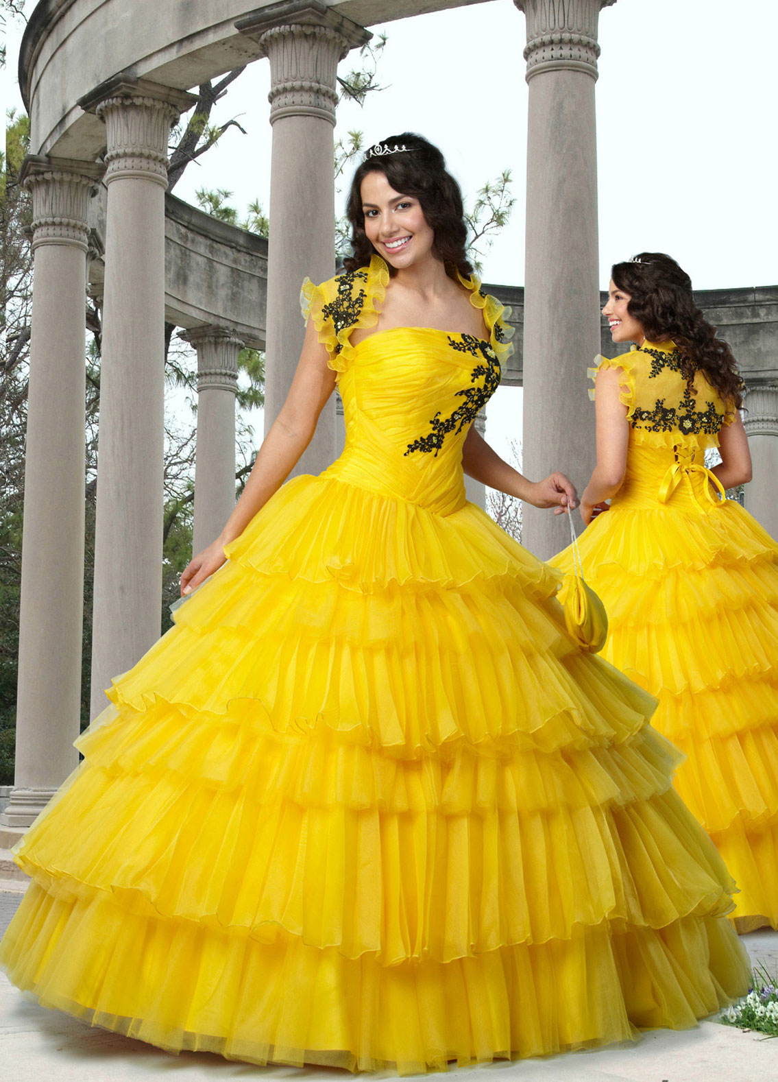8708f42c490 Yellow Ball Gown Strapless Lace up Floor Length Black Embroidered Pleated  Quinceanera Dresses